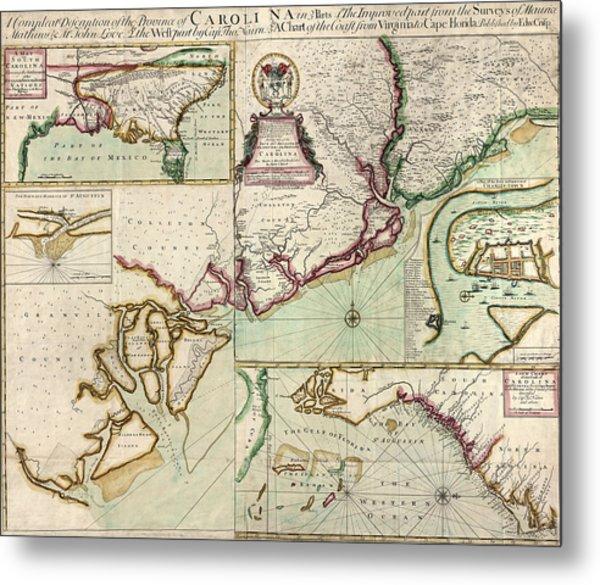 Antique Map Of South Carolina By Edward Crisp - Circa 1711 Metal Print by Blue Monocle
