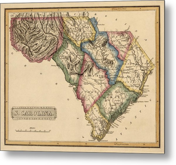 Antique Map Of South Carolina By Fielding Lucas - Circa 1817 Metal Print by Blue Monocle