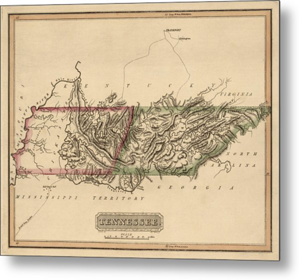 Antique Map Of Tennessee By Fielding Lucas - Circa 1817 Metal Print by Blue Monocle