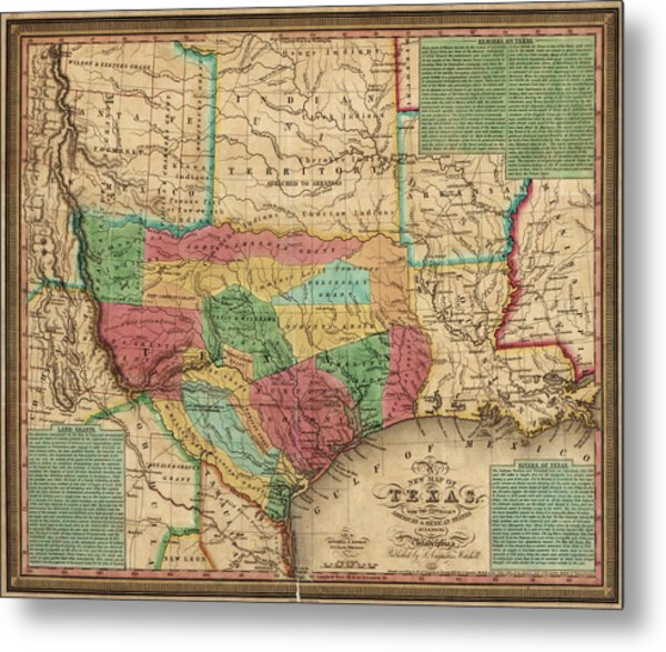 Antique Map Of Texas By James Hamilton Young - 1835 Metal Print