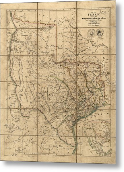 Antique Map Of Texas By John Arrowsmith - 1841 Metal Print by Blue Monocle