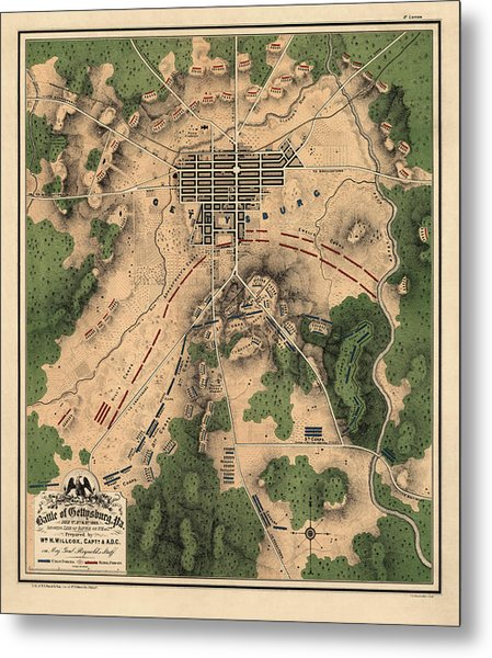 Antique Map Of The Battle Of Gettysburg By William H. Willcox - 1863 Metal Print
