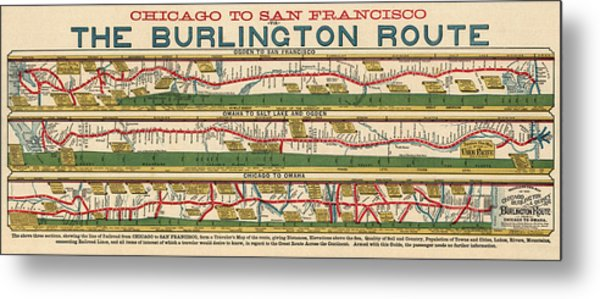 Antique Map Of The Burlington Route By H. R. Page And Co. - Circa 1879 Metal Print