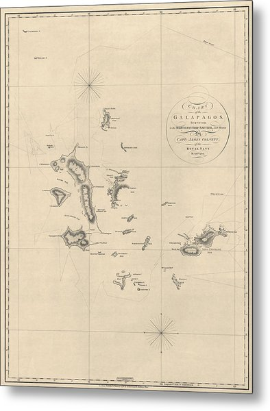 Antique Map Of The Galapagos Islands By James Colnett - 1798 Metal Print