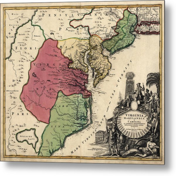 Antique Map Of The Middle American Colonies By Johann Baptist Homann - Circa 1759 Metal Print by Blue Monocle