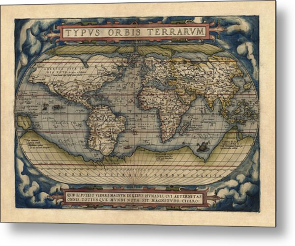 Antique Map Of The World By Abraham Ortelius - 1570 Metal Print
