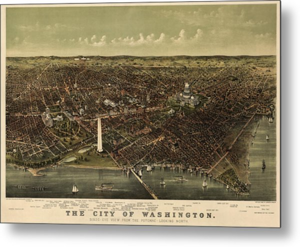 Antique Map Of Washington Dc By Currier And Ives - Circa 1892 Metal Print