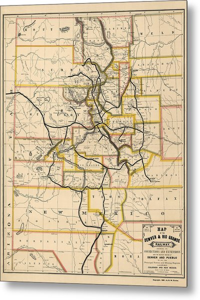 Antique Railroad Map Of Colorado And New Mexico By S. W. Eccles - 1881 Metal Print
