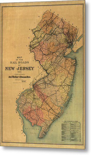 Antique Railroad Map Of New Jersey By Van Cleef And Betts - 1887 Metal Print