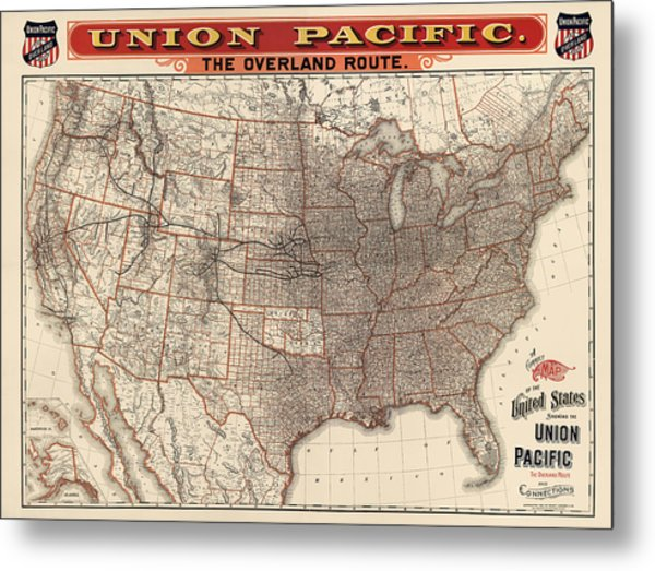 Antique Railroad Map Of The United States - Union Pacific - 1892 Metal Print