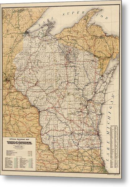Antique Railroad Map Of Wisconsin - 1900 Metal Print