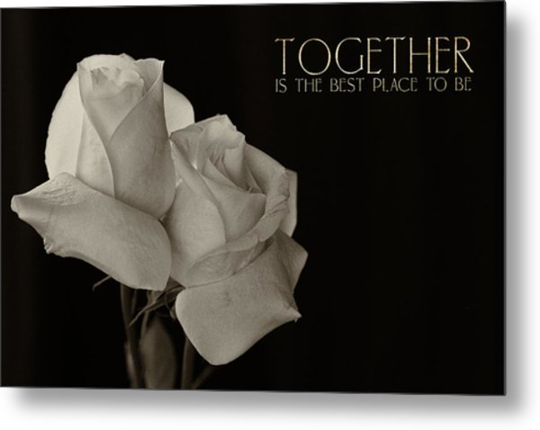 Antique Roses With Message Metal Print