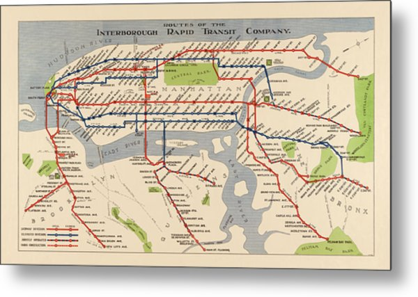 Antique Subway Map Of New York City - 1924 Metal Print