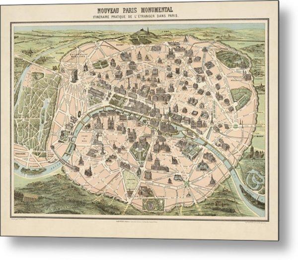 antique tourist map of paris france by garnier circa 1860 metal print by blue monocle