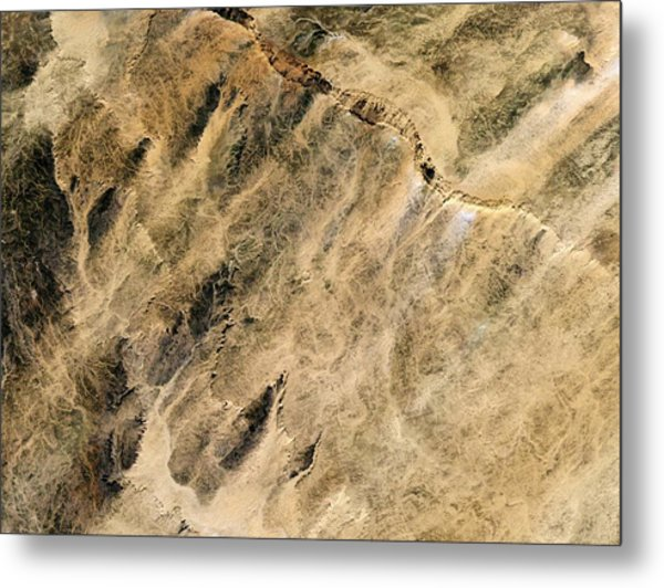 Aouelloul Crater Metal Print
