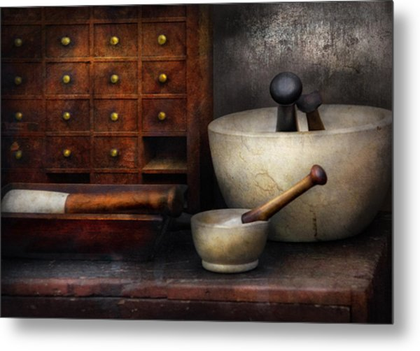 Apothecary - Pestle And Drawers Metal Print