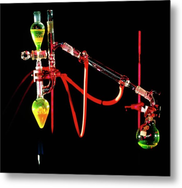 Apparatus Used For Chemical Distillation Metal Print by David Taylor/science Photo Library