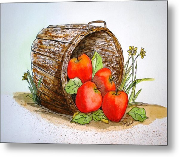 Apple Basket Metal Print