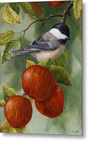 Apple Chickadee Greeting Card 2 Metal Print
