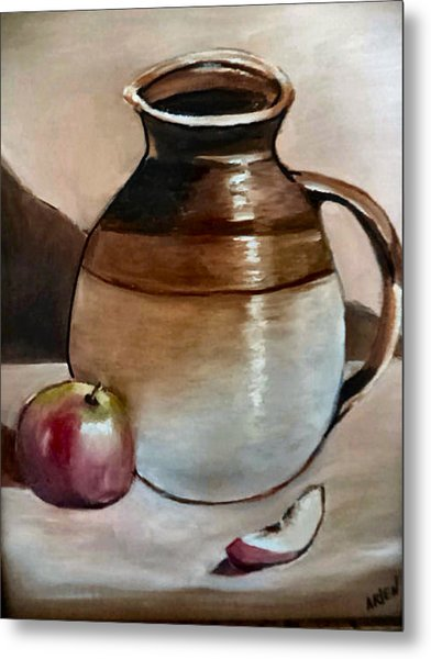 Apple With Ceramic Jug. Metal Print