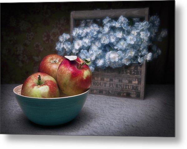 Apples And Flower Basket Still Life Metal Print