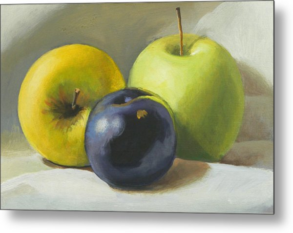 Apples And Plum Metal Print by Peter Orrock
