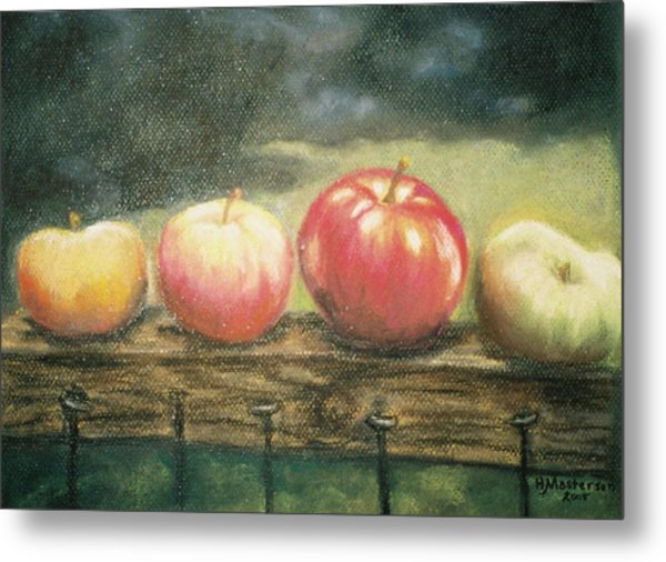 Apples On A Rail Metal Print