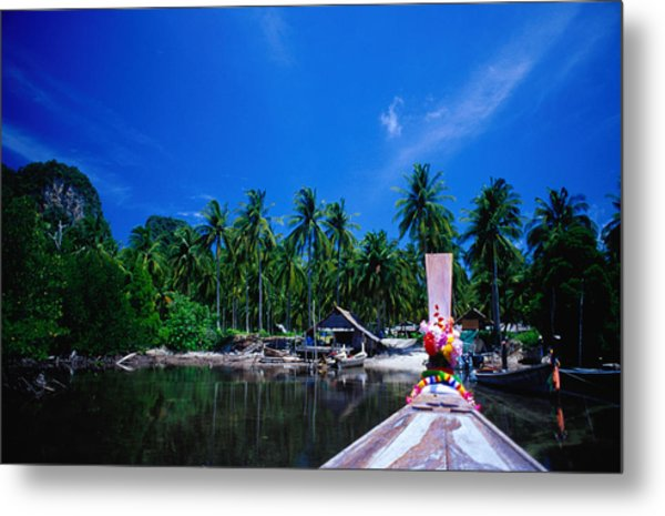 Approaching Ao Bakao By Longboat On The Metal Print by Karen Trist