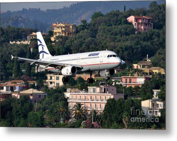 Approaching Corfu Airport Metal Print