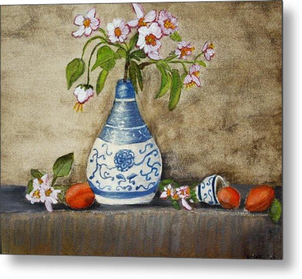Apricot Still Life Ll Metal Print by Kristie Zweig Christensen
