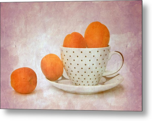 Apricots In A Cup Metal Print by Angela Bruno