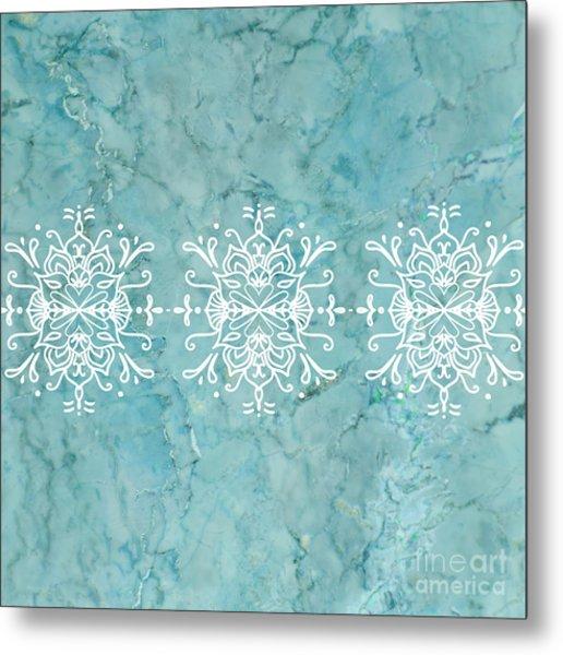 Aqua Blue Marble-royal White Metal Print