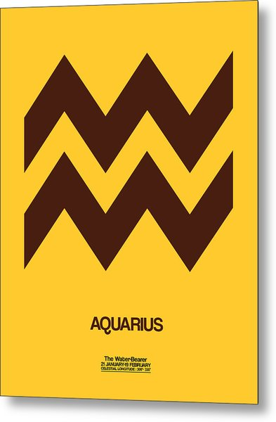 Aquarius Zodiac Sign Brown Metal Print
