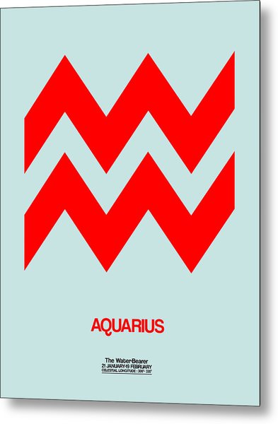 Aquarius Zodiac Sign Red Metal Print