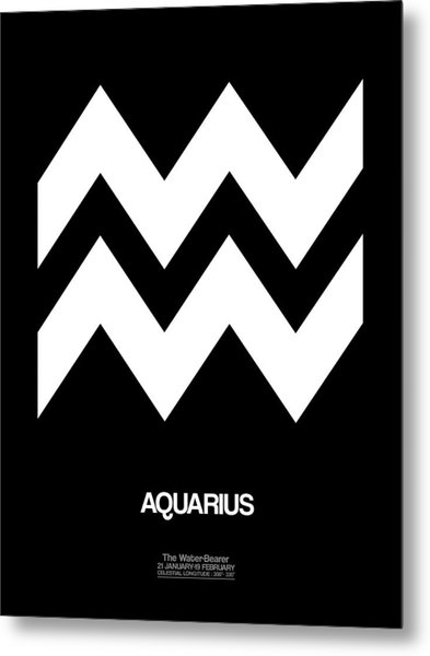 Aquarius Zodiac Sign White Metal Print