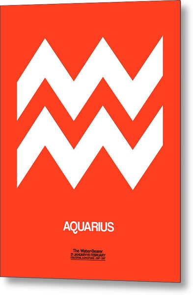 Aquarius Zodiac Sign White On Orange Metal Print