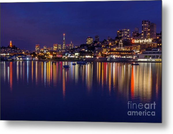 Metal Print featuring the photograph Aquatic Park Blue Hour Wide View by Kate Brown