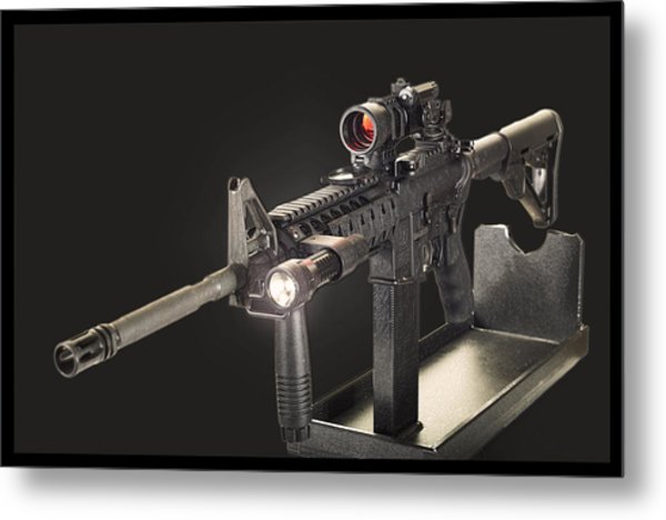 Ar 15 On Black Metal Print