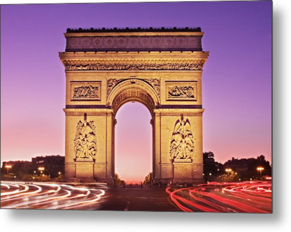 Metal Print featuring the photograph Arc De Triomphe Facade / Paris by Barry O Carroll