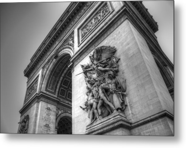Arc De Triomphe In Black And White Metal Print