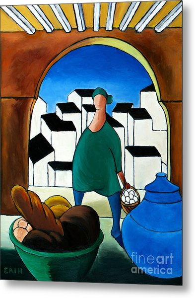 Arch Bread Eggs And Blue Vase Metal Print