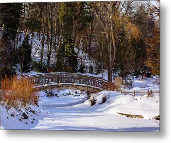 Arched Bridge In Edwards Garden Metal Print
