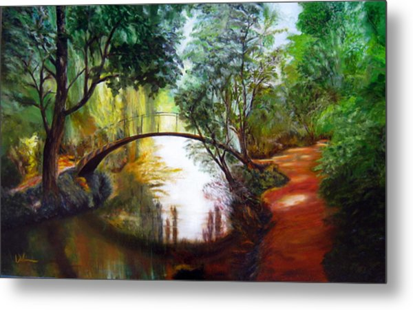 Arched Bridge Over Brilliant Waters Metal Print
