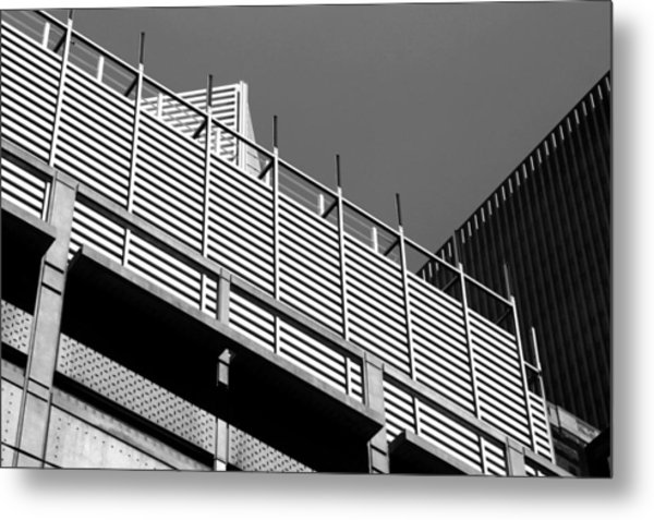 Architectural Lines Black White Metal Print