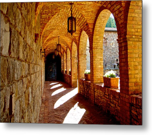Archway By Courtyard In Castello Di Amorosa In Napa Valley-ca Metal Print