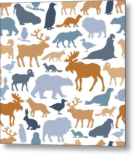 Arctic Animals Pattern Metal Print by Alonzodesign