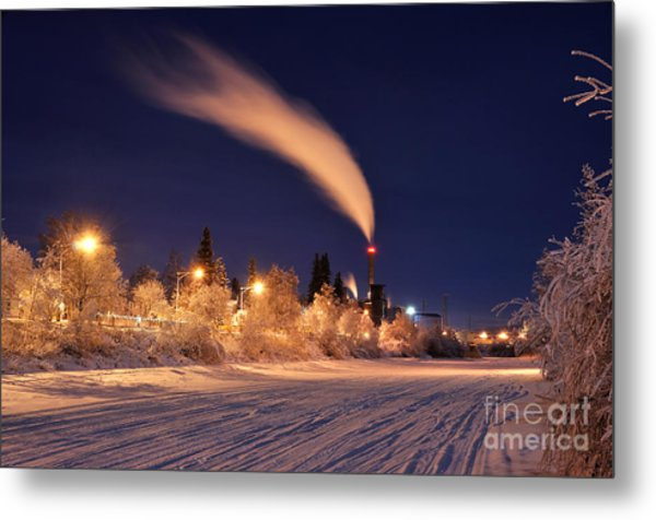 Arctic Power At Night Metal Print