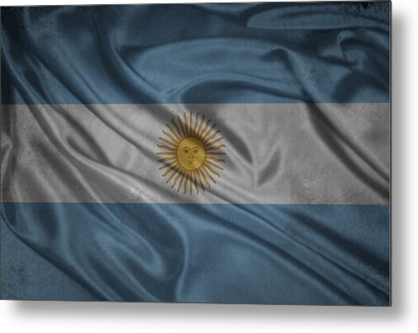 Argentinian Flag Waving On Canvas Metal Print