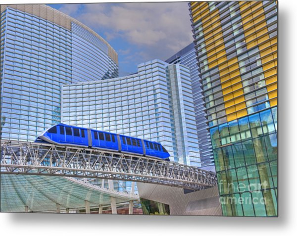 Aria Las Vegas Nevada Hotel And Casino Tram  Metal Print