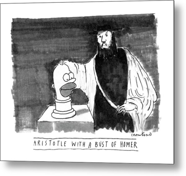Aristotle With A Bust Of Homer: Metal Print